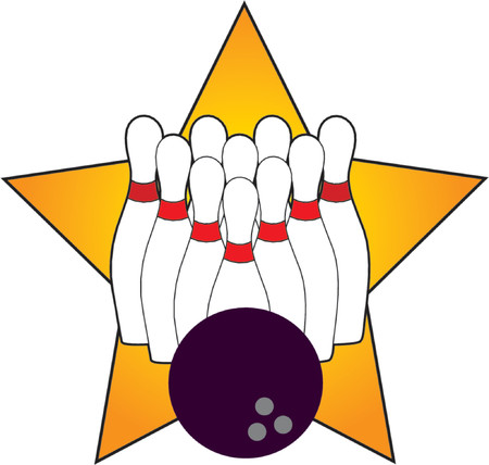 Ten bowling pins and a bowling ball