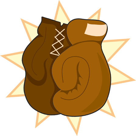 Pair of brown boxing gloves on a star background