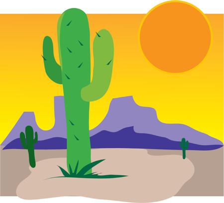 Einzelne Cactus in ein Dessert mit Bergen und Sonne steigen
