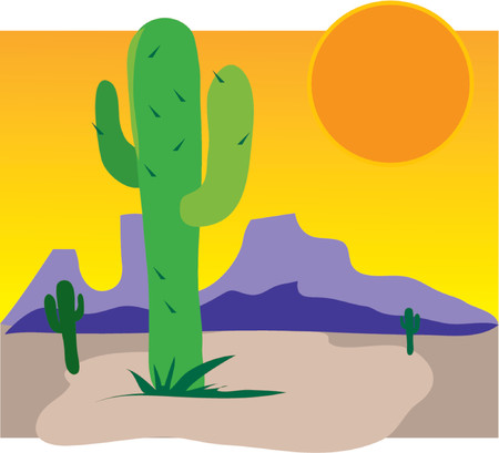 arid: Single cactus in a dessert with mountains and sun rising Illustration