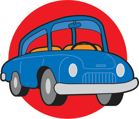 Small blue compact car on red circle background