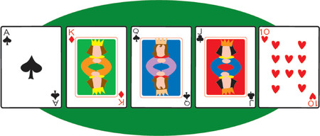 A set of five playing cards on green oval