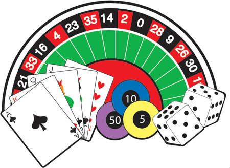Roulette-Rad, Karten, W�rfel und Poker-Chips