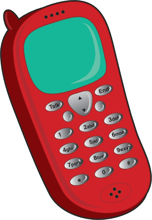 communicaton: Single red cell phone on a white background Illustration