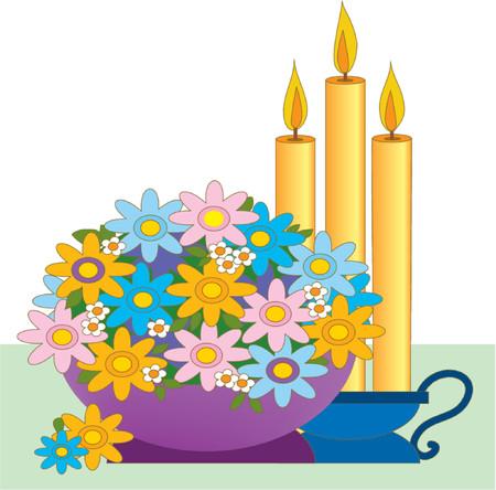 A centerpiece with candles and a bowl of flowers Ilustração