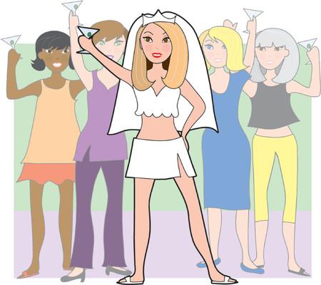Fractie van de meisjes op een bachelorette partij