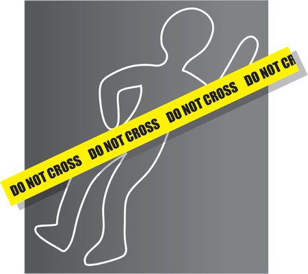Chalk drawing for a crime scene with yellow ribbon Vector