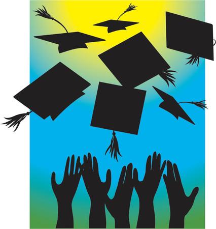 graduados: Silueta de las manos que lanzan los casquillos del gradution en el aire