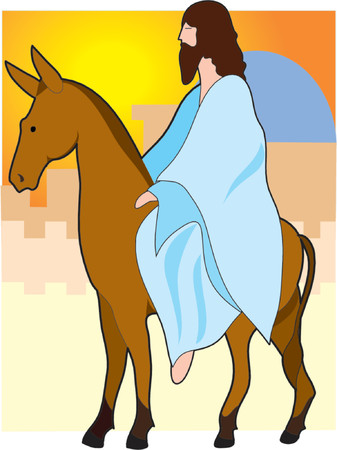 Jesus rides to Jerusalem on a donkey