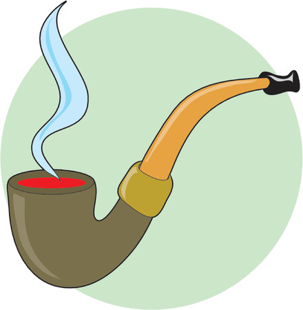 smoking pipe: Pipe with smoke on a green circle background Illustration