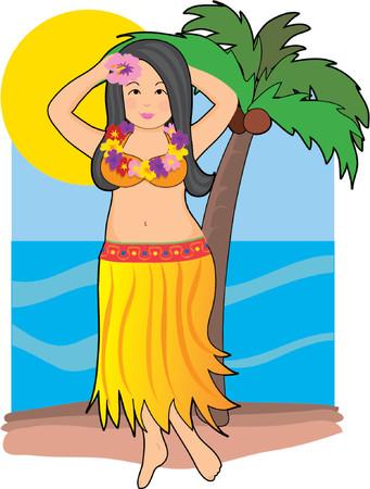 fiji: Hawaiian hula danseres met lei en palmboom Stock Illustratie