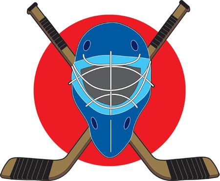 Hockey-Maske mit St�cken auf roten Kreis Hintergrund