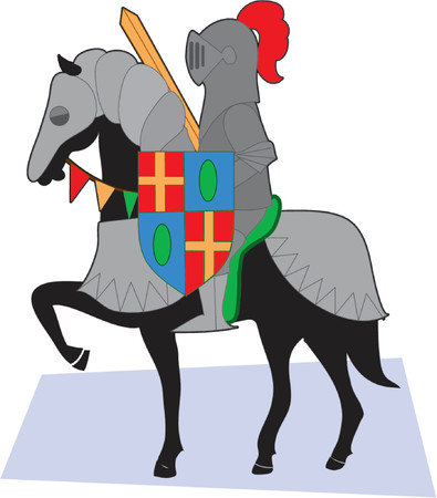 Knight in armor on a black horse with shield and sword