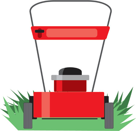 A red lawn mower on some grass Ilustracja