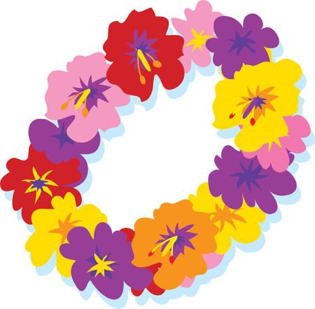 hawaiana: Lei hawaiano con grandes flores de colores hibisco  Vectores