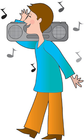 boom box: Young boy with a boom box on his shoulders