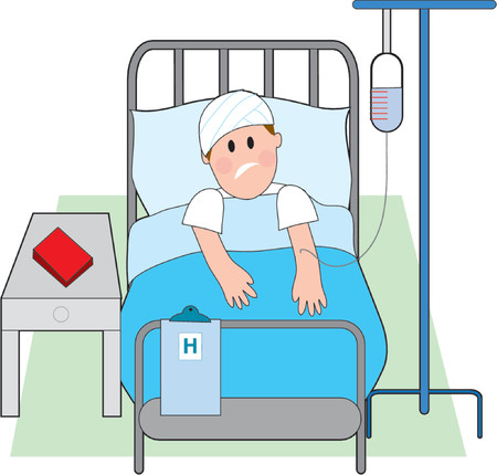 hurt: Sick man in hospital bed with intravenous