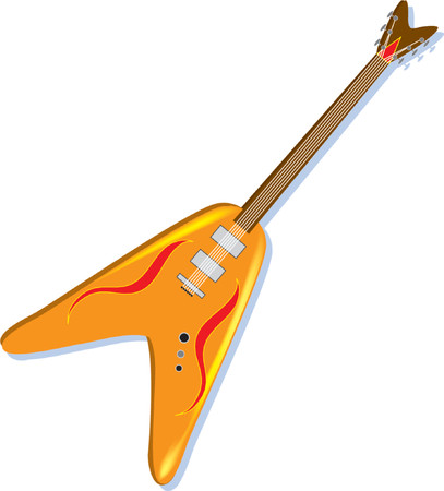 A Orange electric guitar on a white background