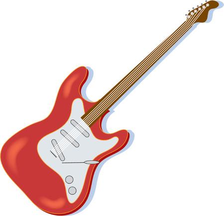 흰색 배경에 빨간색 일렉트릭 기타 일러스트