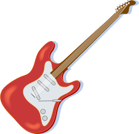 fret: A red electric guitar on a white background
