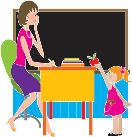 A little girl is giving her teacher an apple