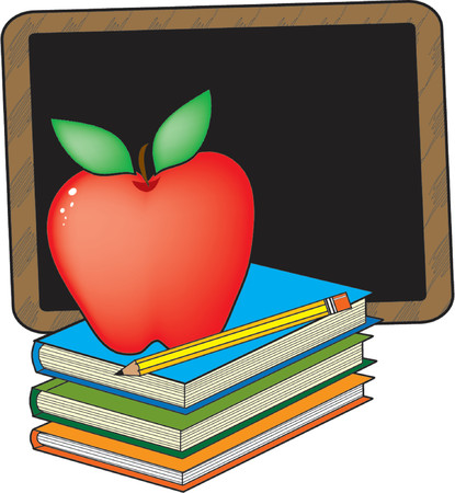 A stack of books with an apple and blackboard Ilustração