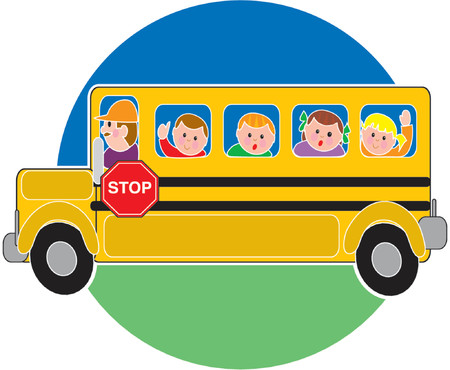 Children in a bus riding to school