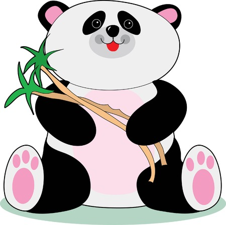 Adorable panda holding bamboo twigs and smiling