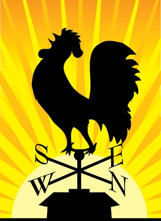Black silhouette of a rooster weathervane on a rooftop Stock Illustratie