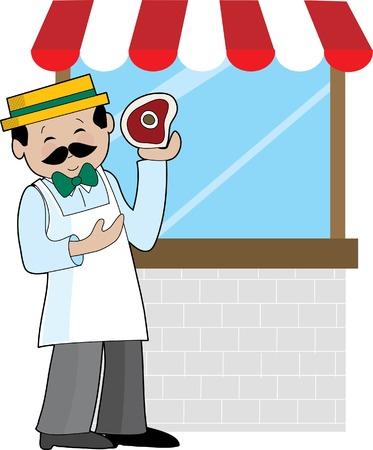 macellaio: Un macellaio in piedi davanti alla sua vetrina  Vettoriali