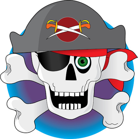 buccaneer: A pirate made of a skull and crossbones  Illustration