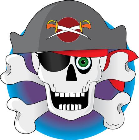 Een piraat gemaakt van een schedel en gekruiste beenderen