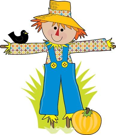 scarecrow: Un cuervo divertido del susto en un campo con un cuervo
