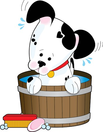 grooming: A spotted dog having a soapy bath  Illustration