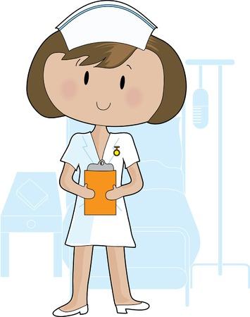 enfermeria: Una mujer joven de la celebraci�n de una enfermera portapapeles