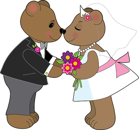 getting married: A pair of teddy bears getting married