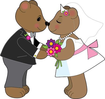 innamorati che si baciano: Una coppia di orsi di peluche sposarsi  Vettoriali