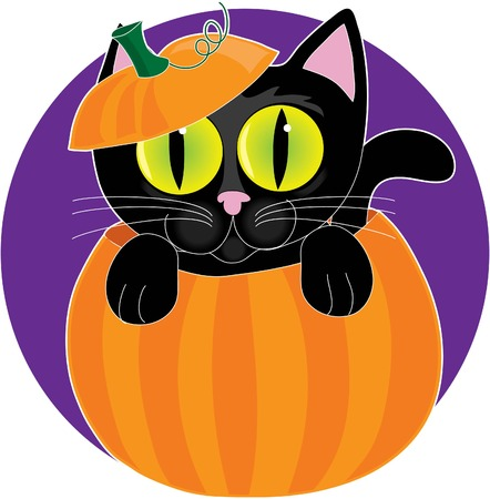 A little black kitten with big eyes sitting in a pumpkin Ilustração