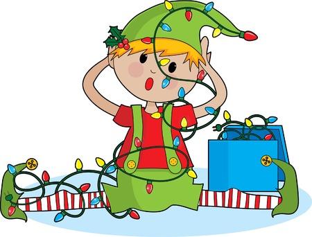 duendes de navidad: A cute little elfo enredado en las luces de Navidad