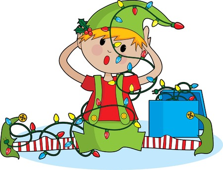 Een schattige kleine elf tangled in lichten van Kerst mis Stockfoto - 1878645