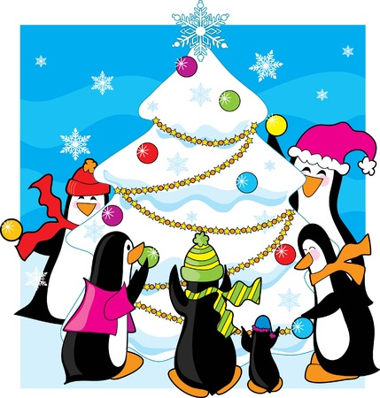 christmas tree illustration: A  of penguins decorating a snow and ice tree