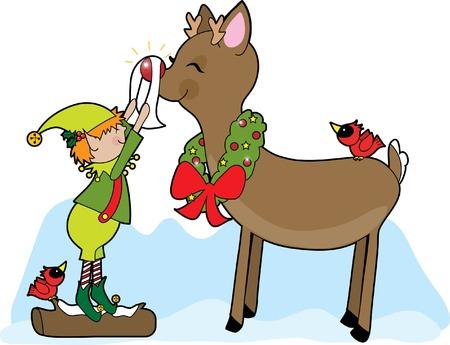 A little elf shining Rudolf the Reindeers nose Vector