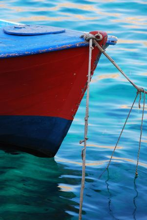 The bow of a fishing boat in a greek island marina Stock Photo - 2051307