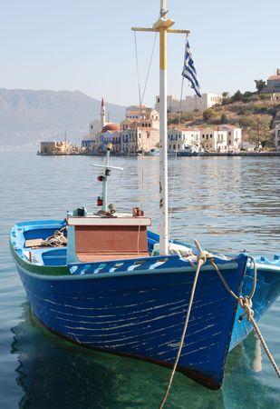 shrimp boat: A Greek fishing  boat in a bay Stock Photo