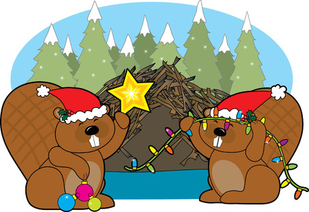 dam: Two beavers decorating their home for Christmas