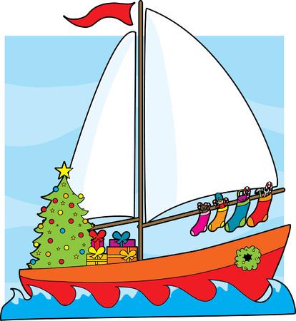 christmas tree illustration: A sailboat with a Christmas tree,presents and stockings hanging from the sail Illustration
