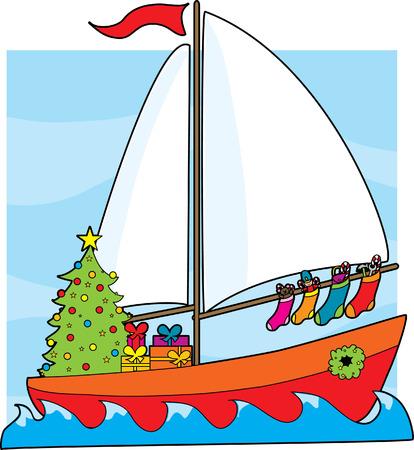 Ein Segelboot mit einem Weihnachtsbaum, Geschenke und Strümpfe hängen von der Segel  Standard-Bild - 2068121