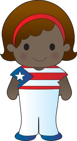 flag: Little girl in a shirt with the Puerto Rican flag on it