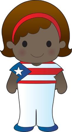 bandera de puerto rico: Ni�a en una camisa con la bandera de Puerto Rico en �l