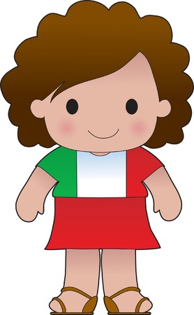 Little girl in a shirt with the Italian flag on it
